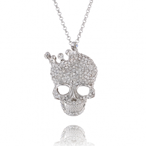 Crystal Rhinestone Necklace Skull Long Choker Hip Hop Party Cool Jewelry for Women and Men