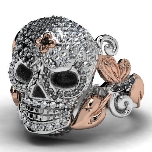 EVBEA Rose Never Die Crystal Skull Ring Famous Designer For Women/Lady for Party or Gift 2017 Newest Design Punk Style Ring