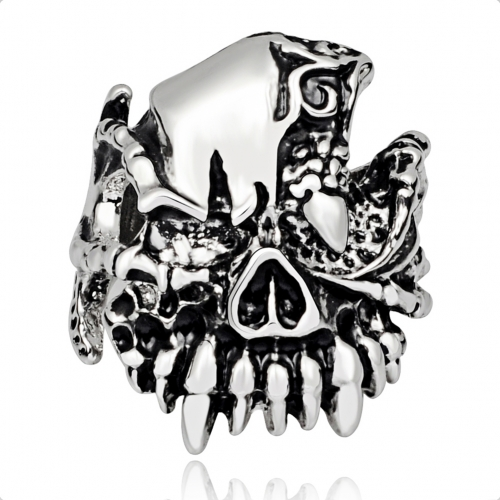 Fashion Design Gothic Punk Skull Silver Adjustable Rotating Big Party Bikers Rings Men's Jewelry