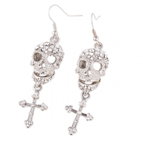 Aliexpress My Orders Hip Hop Party Punk Silver Plated Skull Long Dangle Cross Earrings Women Fashion Jewelry Accessories BPAN