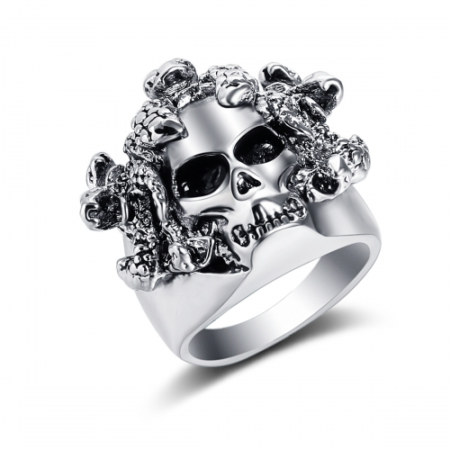 EVBEA Halloween Men Biker Ring 316L Stainless Steel Rings Viking Punk Double Skull Skeleton Ring Gothic Punk Rock Jewelry