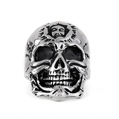 EVBEA Wholesale Cheap Cool Hell Death Skull Ring Man Never Fade Punk Biker Man's High Quality Ring R240