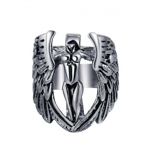 Graduation Bijoux Wholesale Men Jewelry Punk Gothic Naked Angle  Bible Biker Rings Skull Couple Jewelry Accessories