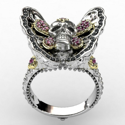 EVBEA Gothic Skull Ring,Butterfly Jewelry