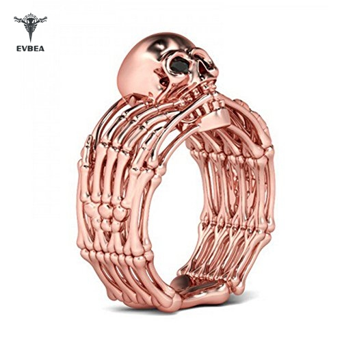 Steampunk Rings Womens Vintage Rose Gold Skull Jewelry